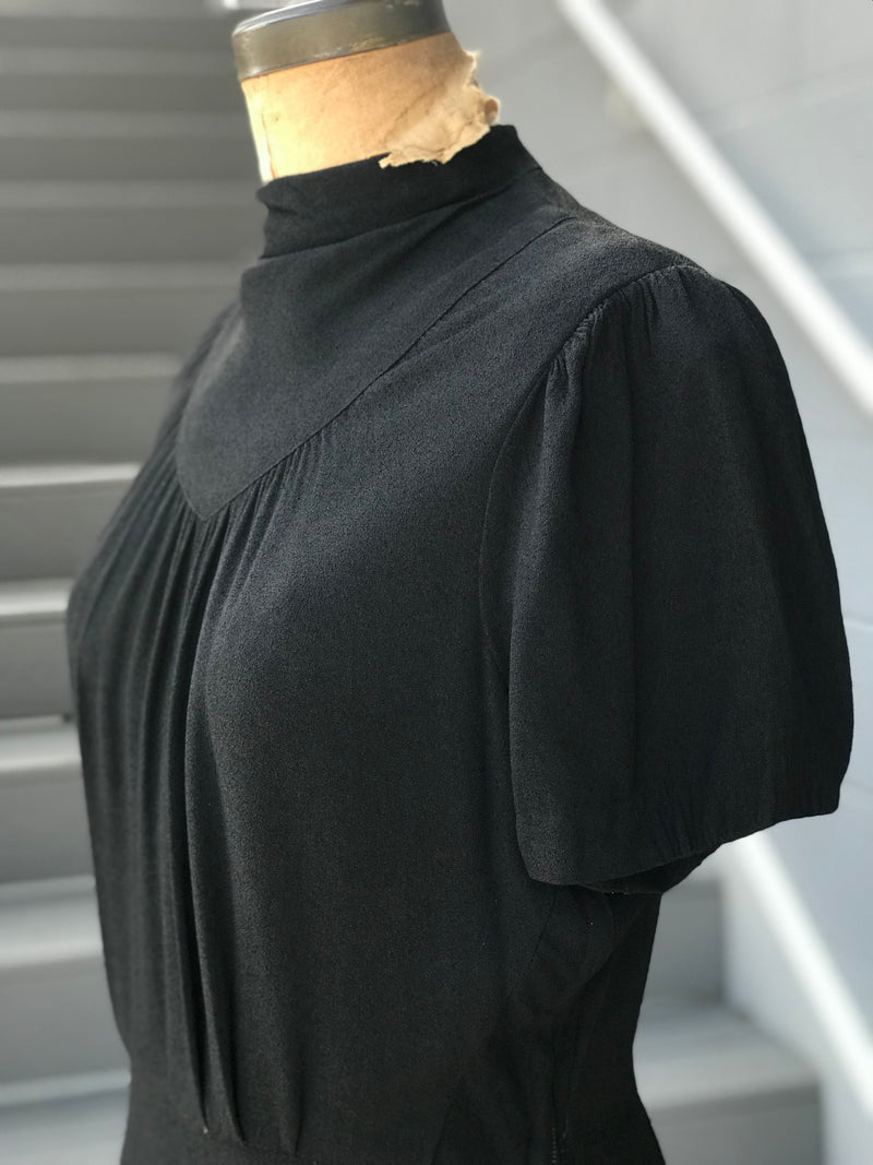 *RARE* 1930s Gothic Mock Neck Crepe Gown