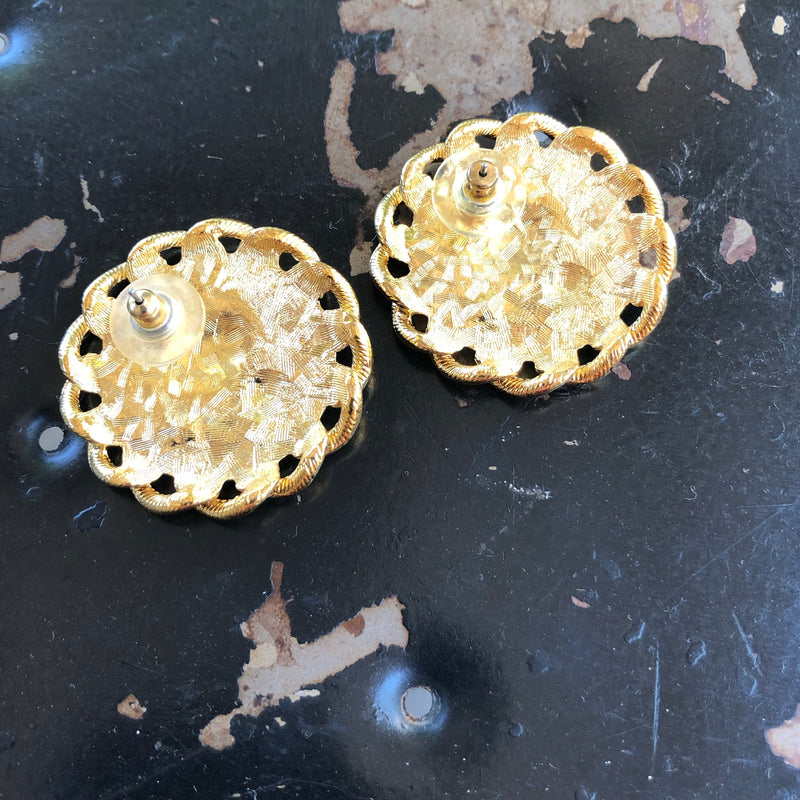 Lion Head Gold Tone Earrings
