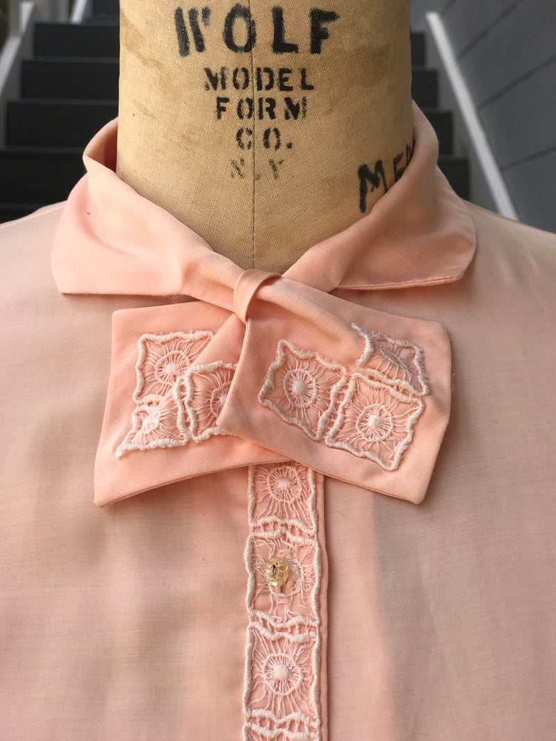 1950s Peach Satin Button Front Blouse