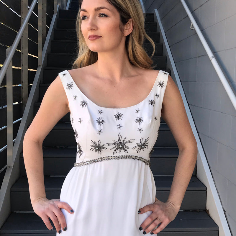 1960s Cream Beaded Cocktail Dress