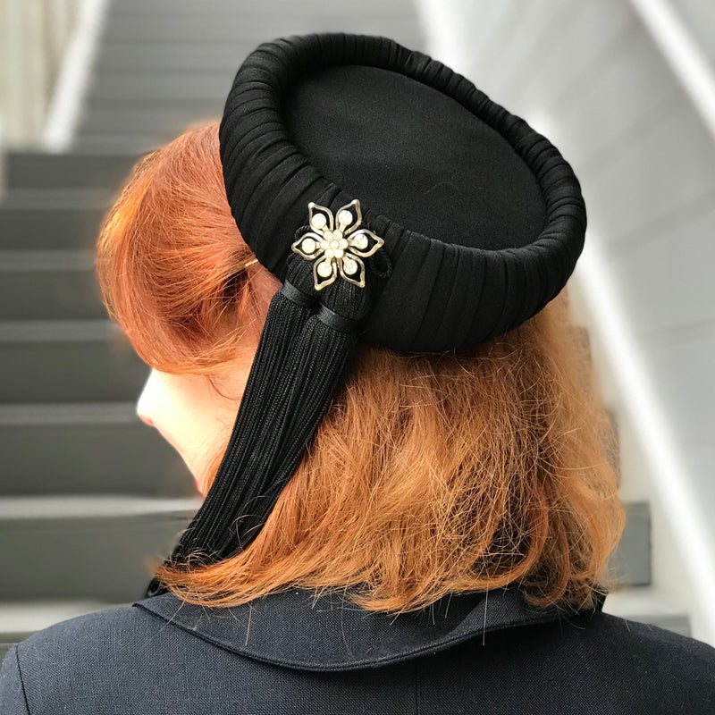 1940s Scholarly Silk Pillbox Tassel Hat
