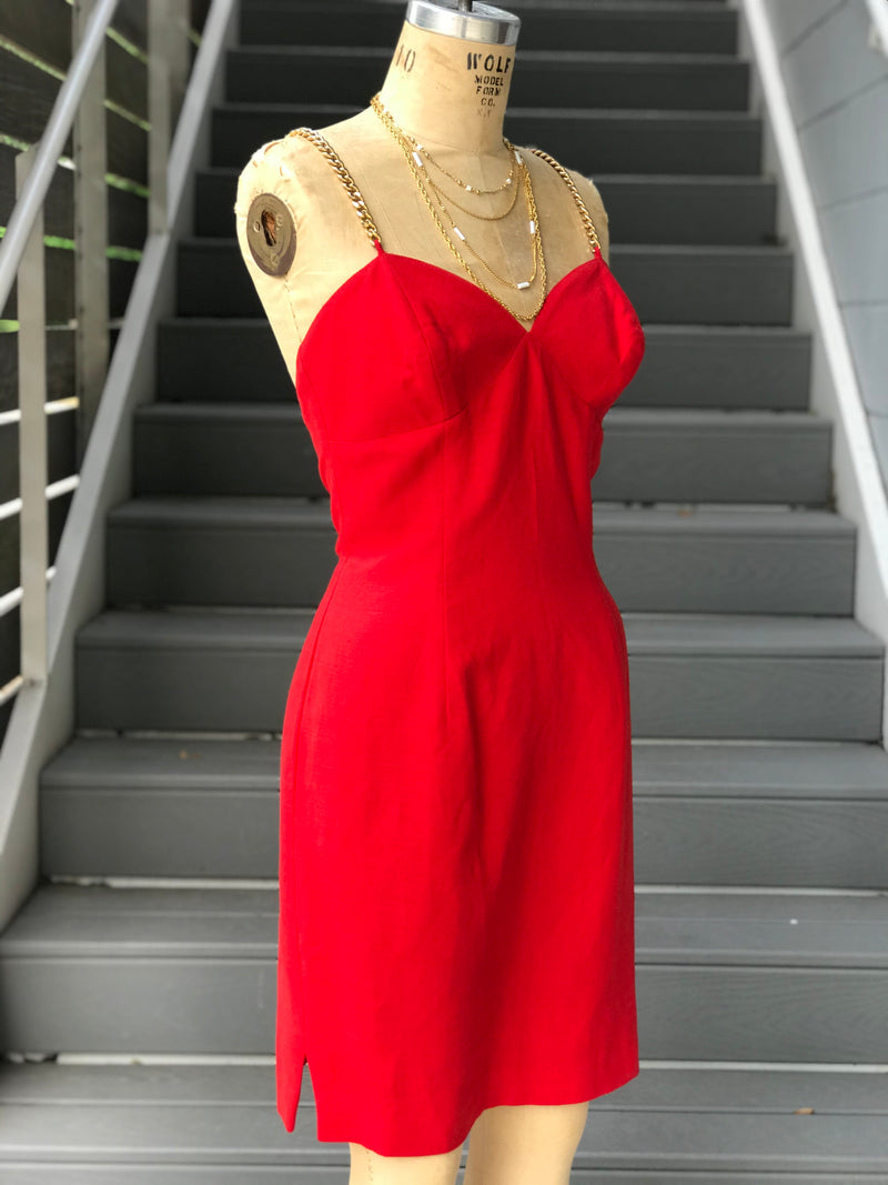 1990s Red Linen Dress with Chain Straps