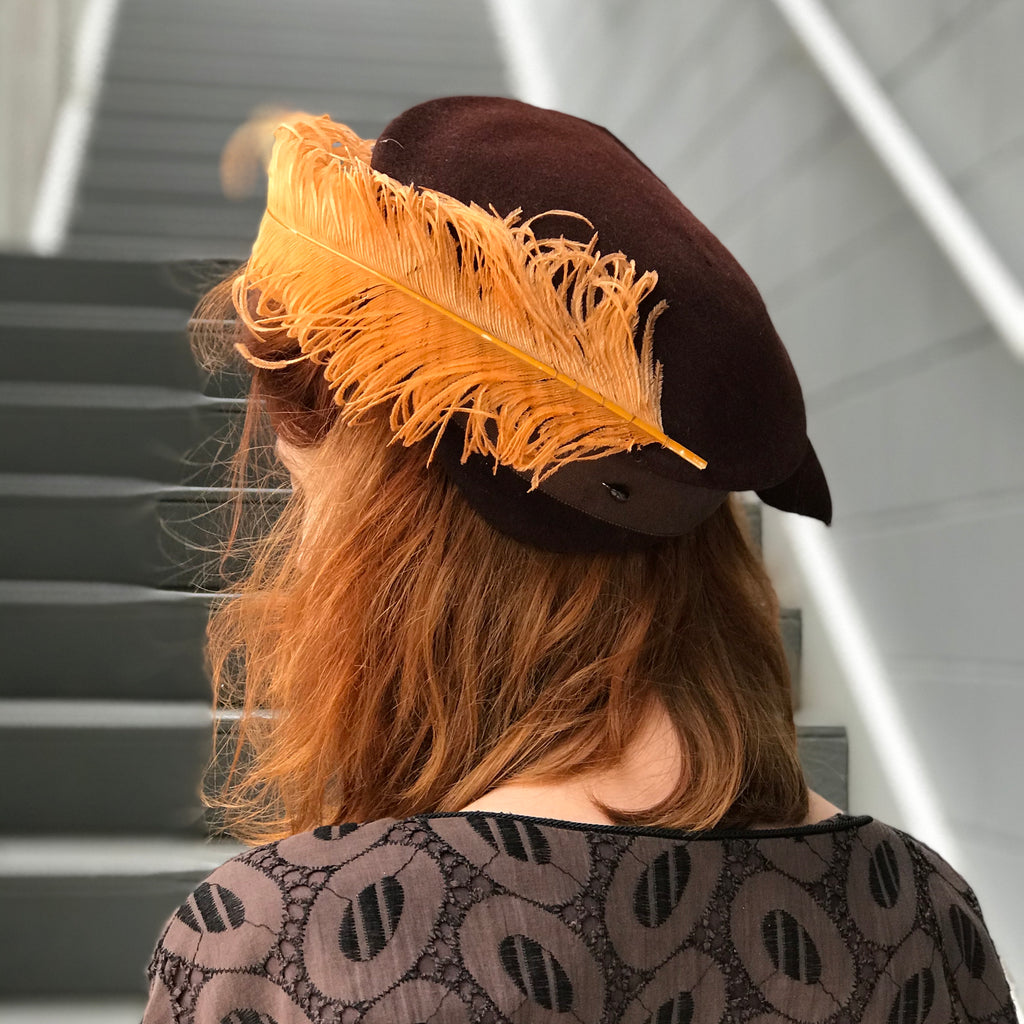 1940s Chocolate Butterscotch Ostrich Feather Hat