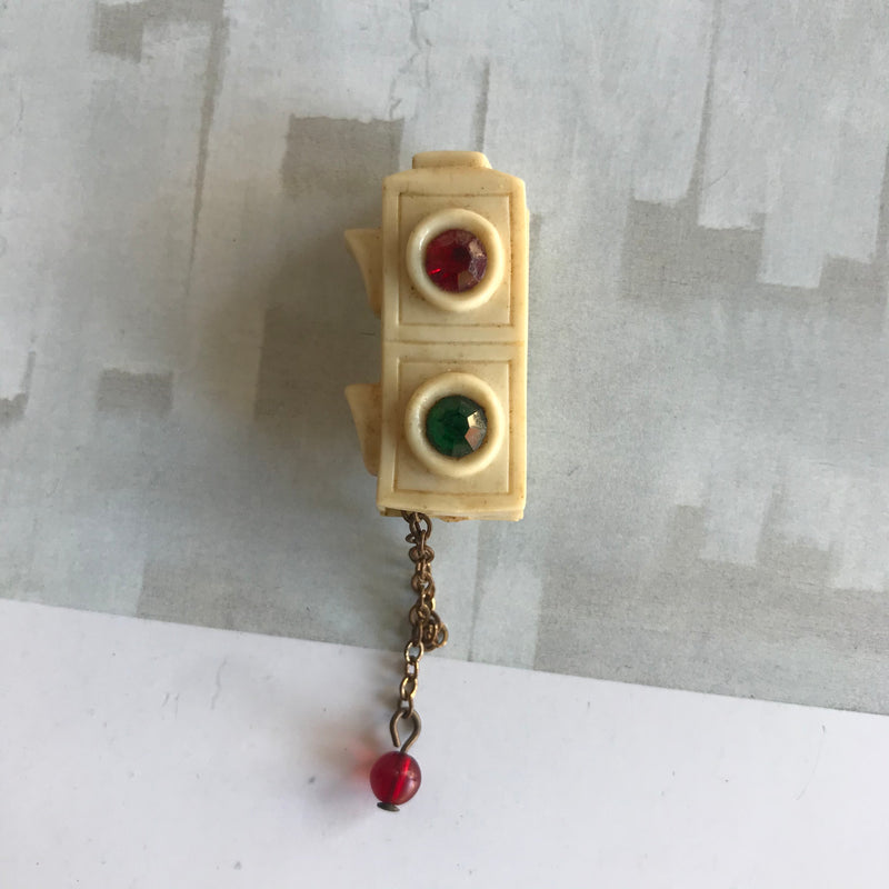 Reserved: 1940s Celluloid Stop Light Brooch