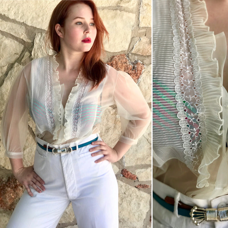 1960s Sheer Pleated Ruffle Blouse