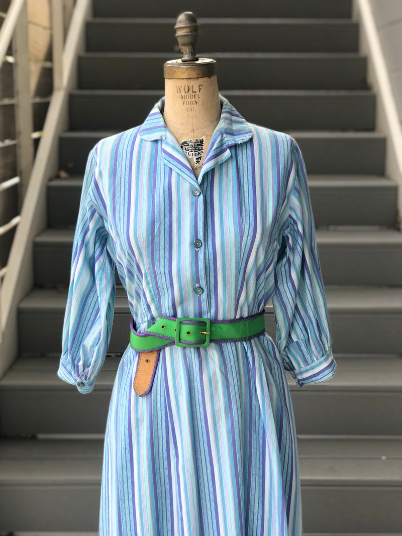 1950s Denim Blue + Cool Striped Day Dress