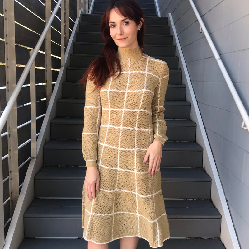 1970s Tan + White Italian Knit Checker Dress