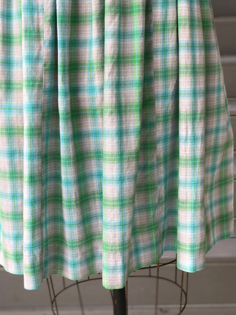 1950s Heather Grey Blue Plaid Day Dress