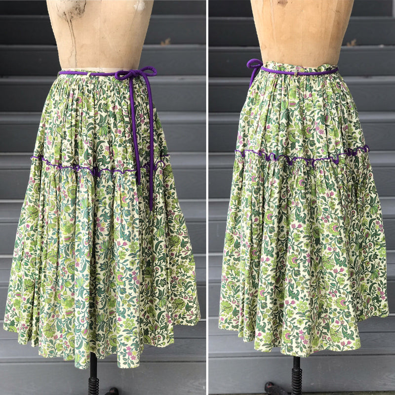 1940s Green + Purple Paisley Full Skirt