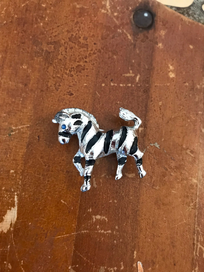 *RESERVED* Vintage Blue-Eyed Zebra Brooch