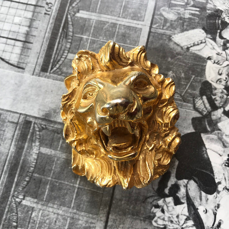 *Designer* Judith Leiber Lion Head Statement Brooch