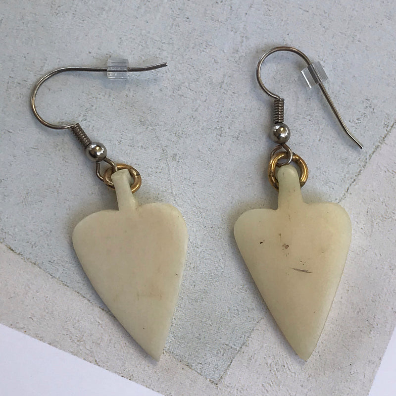 Ivory Color Arrowhead Dangle Earrings