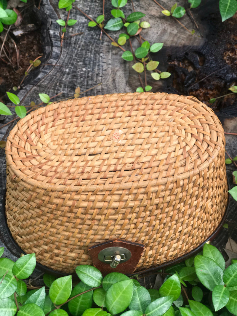 1950s Nantucket Picnic Wicker Handbag