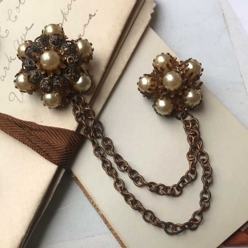 Double Pearl Brooch with Brass Chain