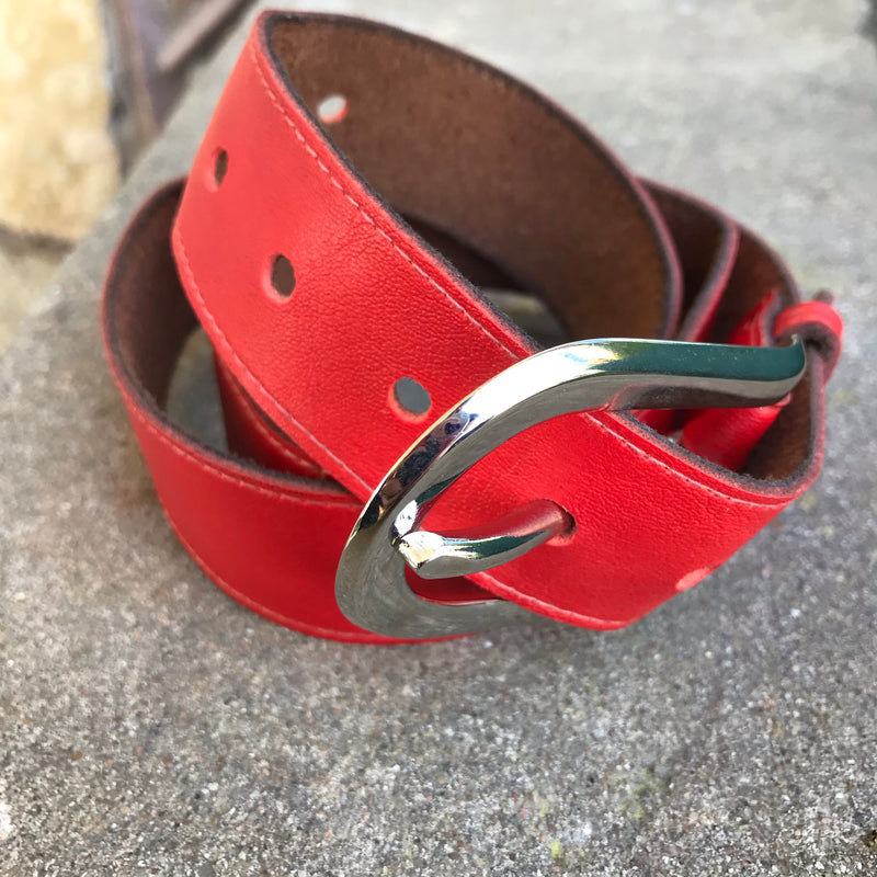 1970s Red Leather Belt