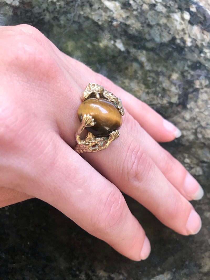 *RESERVED* Vintage Golden Tiger Eye + Dragon Hug Ring