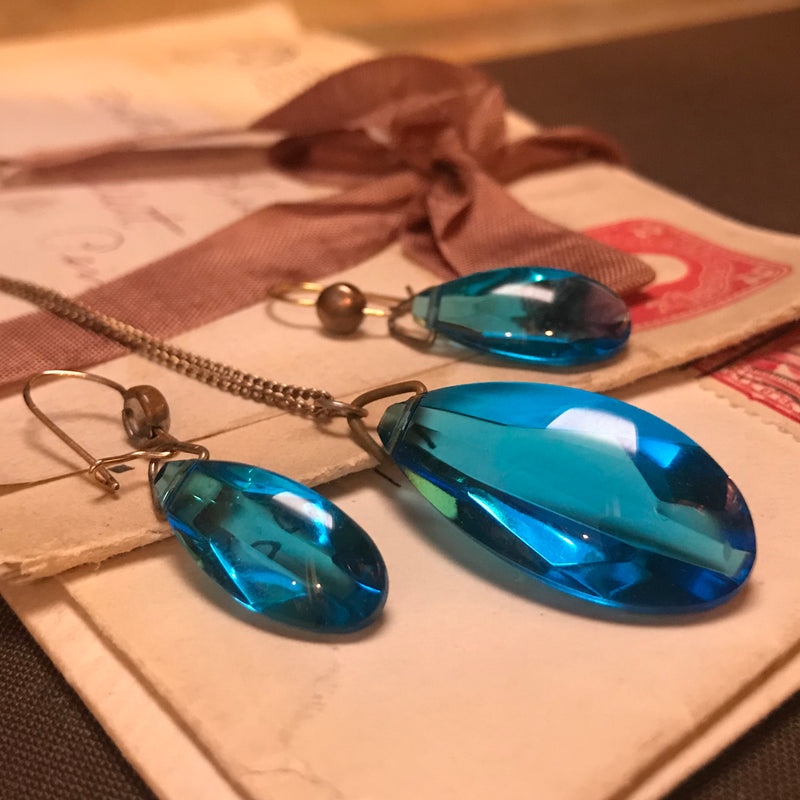 Ocean Blue Glass Necklace and Earring Set