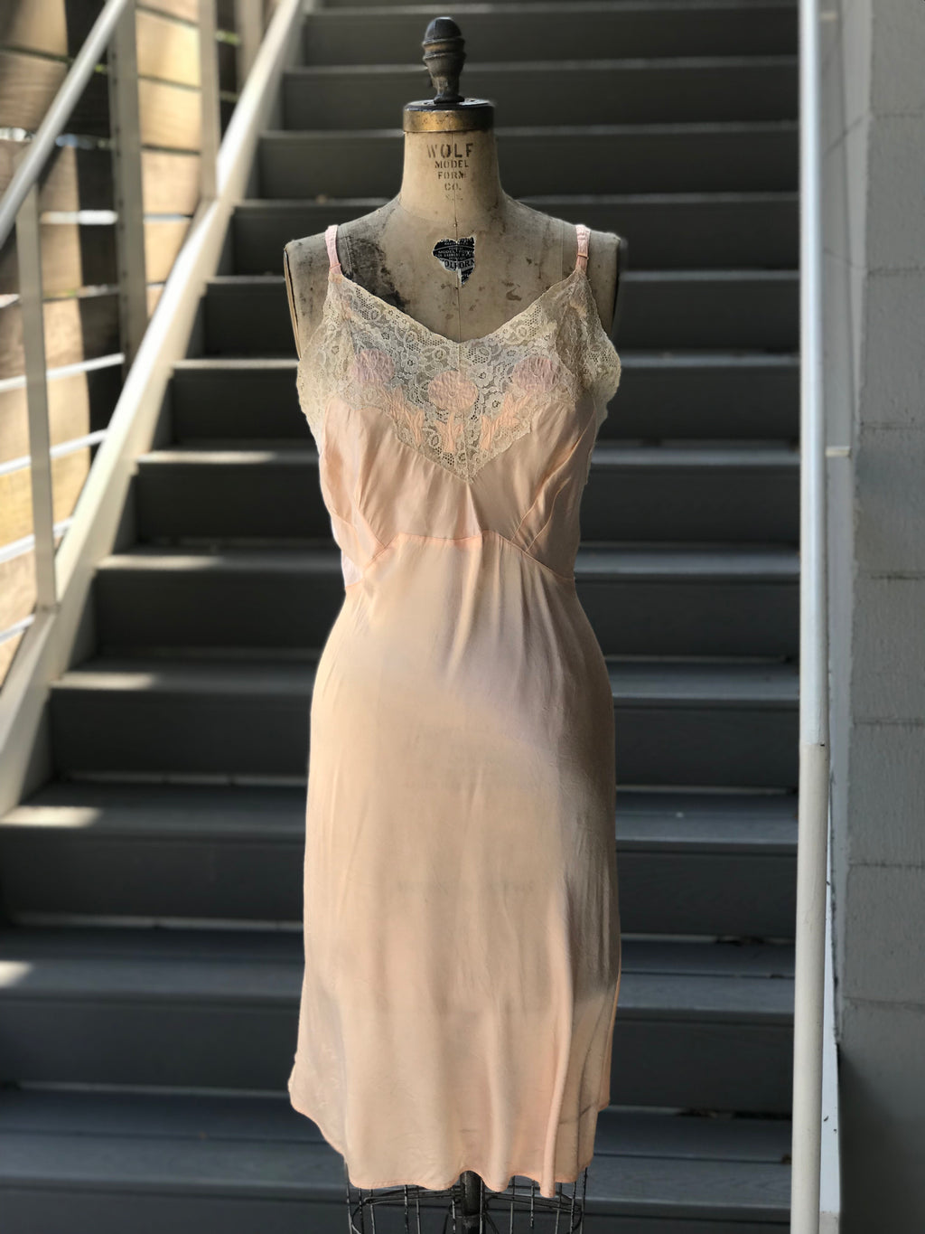 1930s Bias Cut Candy + Lace Slip