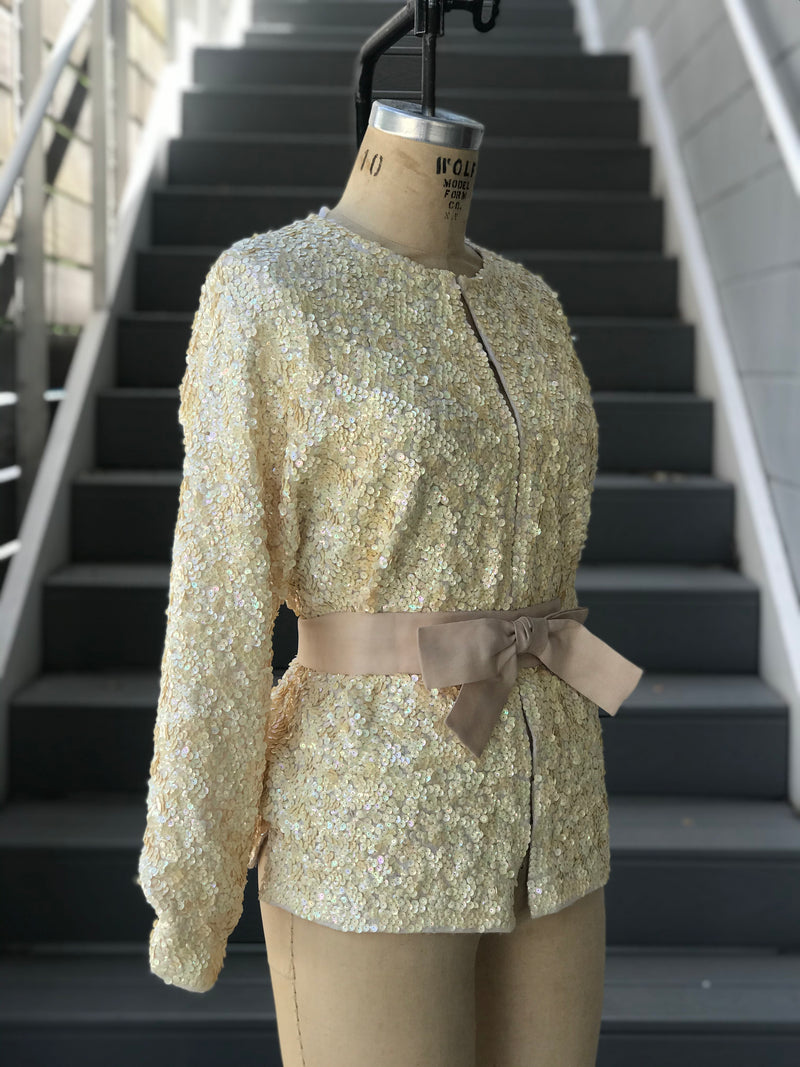 1980s Cream Iridescent Sequin Jacket