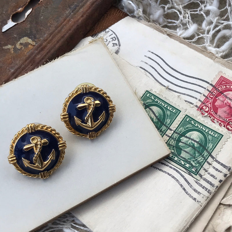 Gold and Navy Anchor Earrings | Yacht Rock