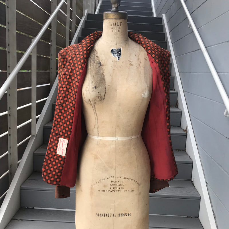 1950s Burnt Orange and Brown Blazer