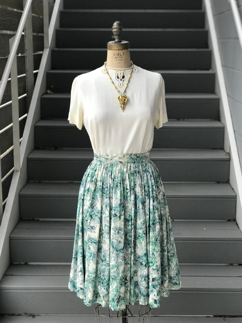 1950s Floral Skies Silky Full Skirt