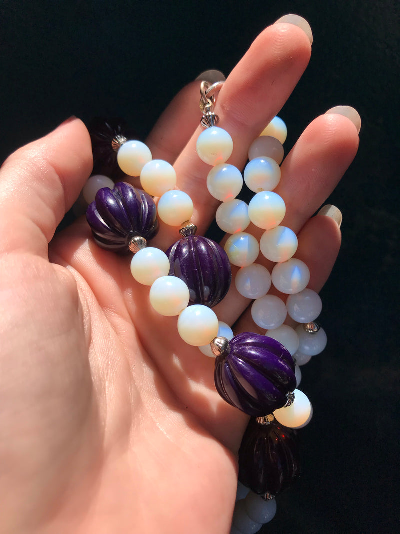 60s Vintage Opalite + Violet Beaded Strand Necklace