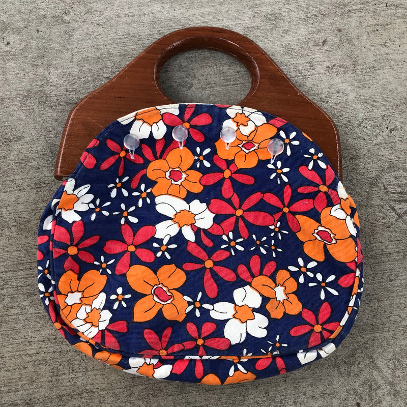 1960s Blue Floral Wood Handle Purse