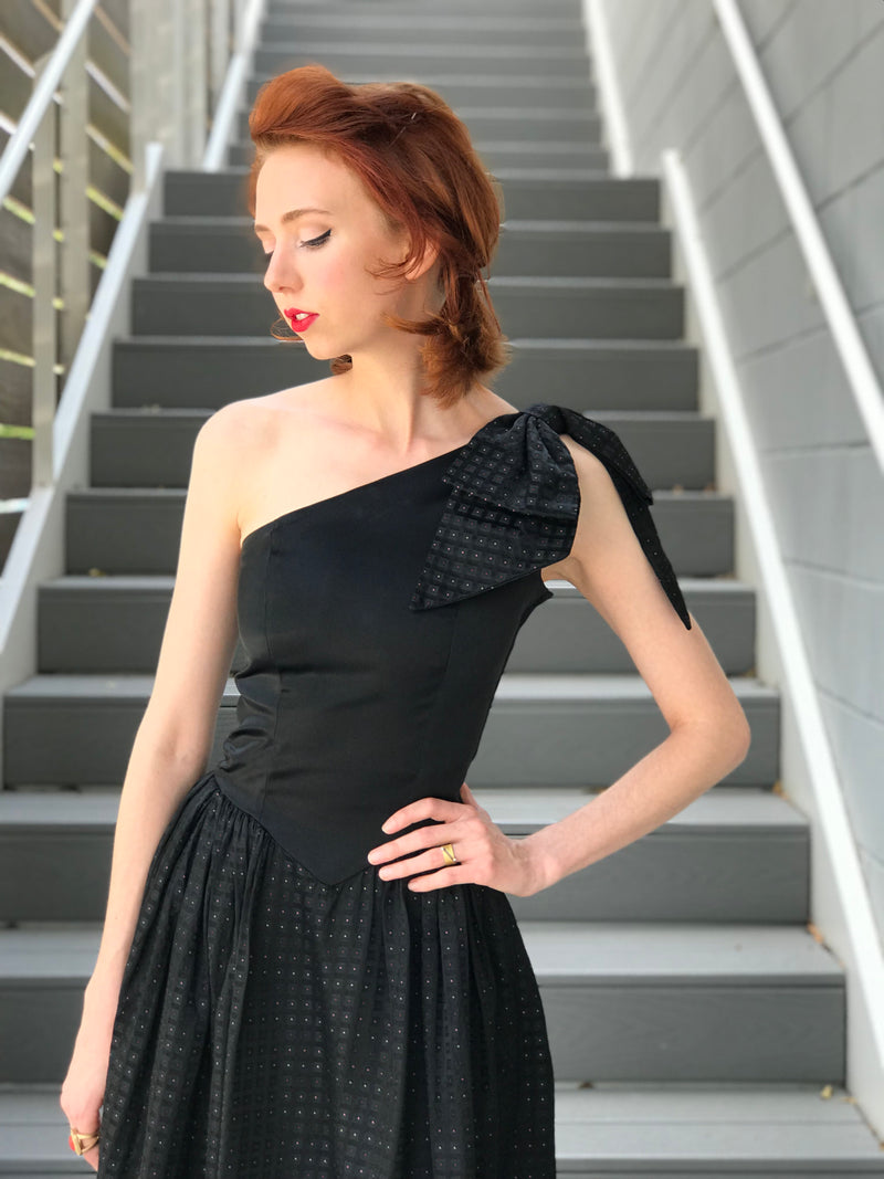 1980s One Shoulder Geo + Bow Party Dress