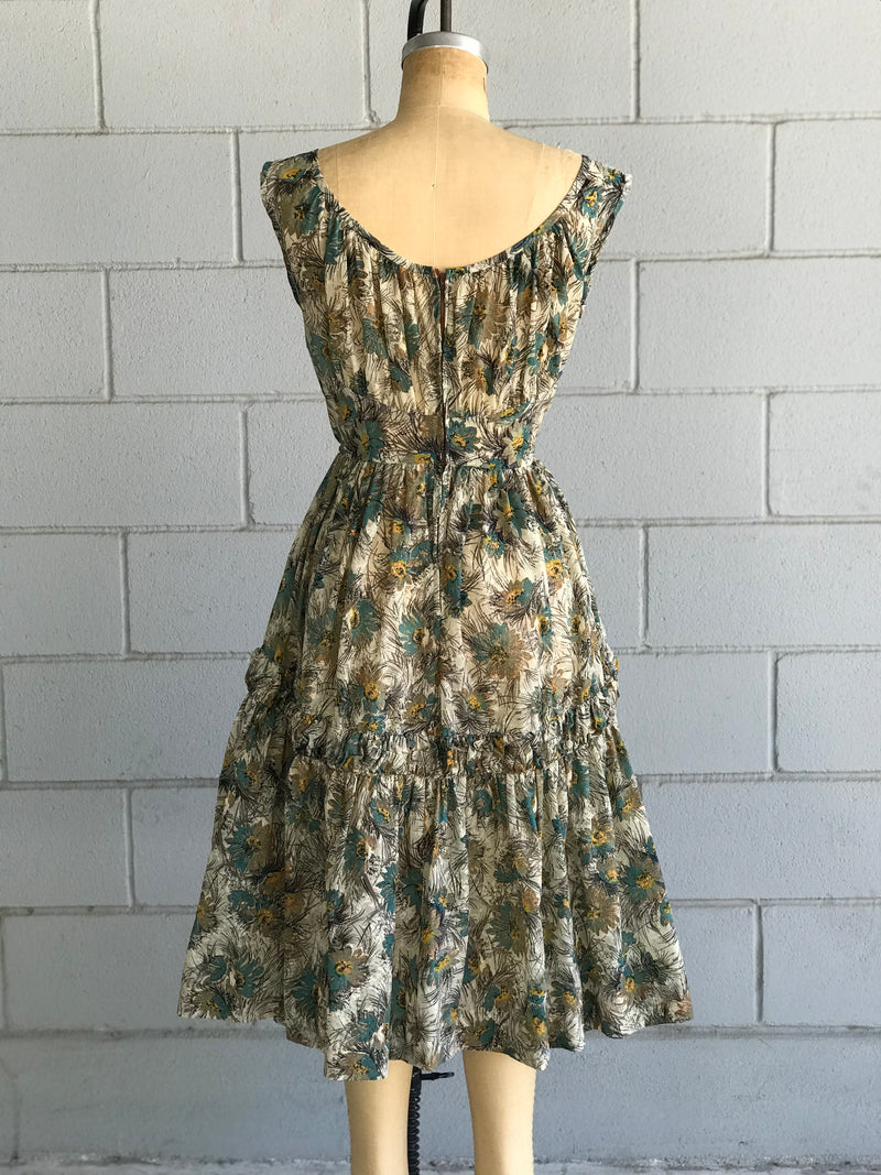 1950s Teal and Mustard Floral Print Ruffle Dress