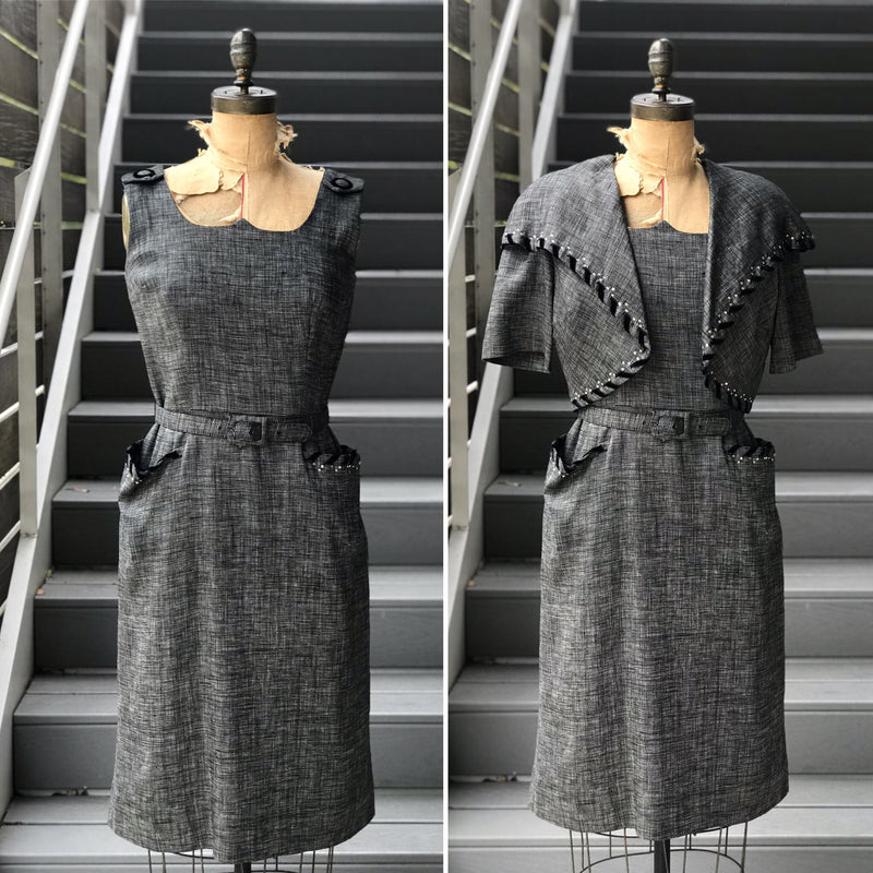 1950s Heather Grey + Velvet RS Dress *SET*