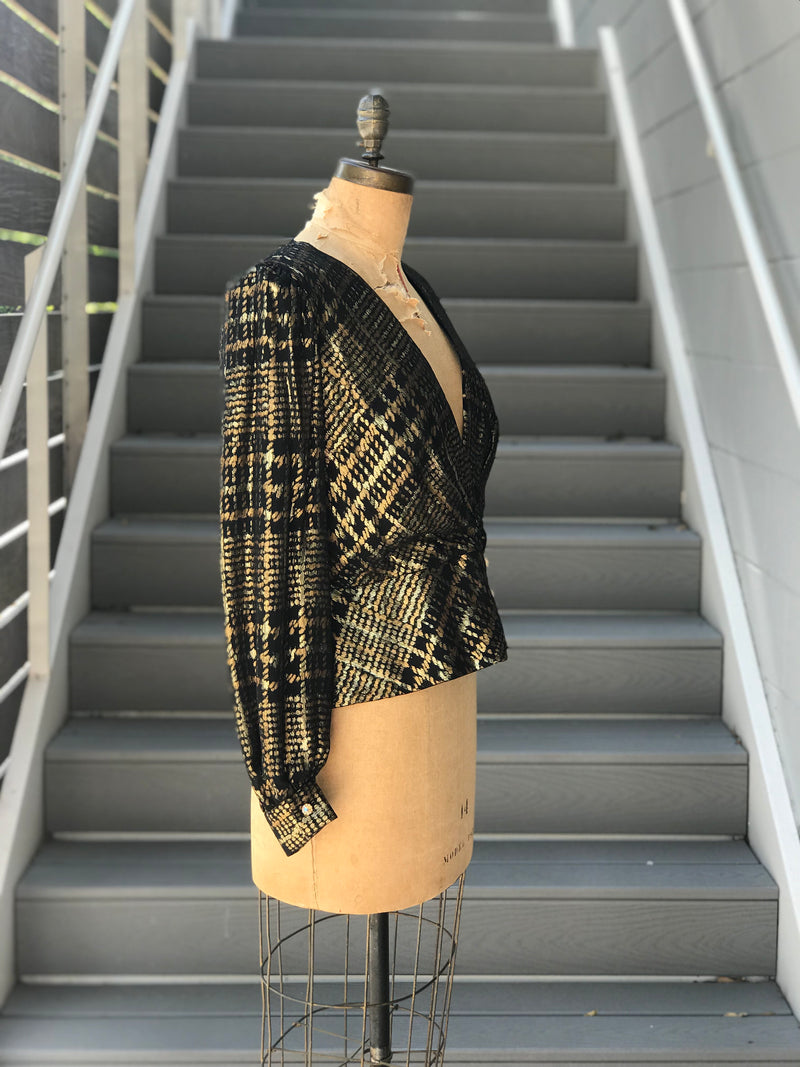 1980s Metallic Houndstooth Bishop Blouse