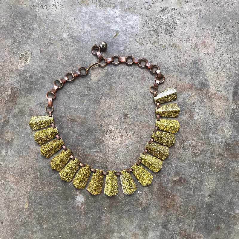 Yellow Speckled Brass Choker Necklace