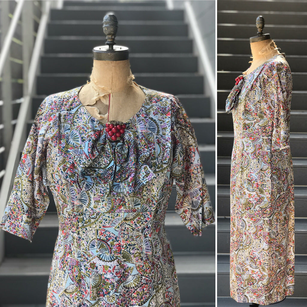 "1950s ""Fujiyama Mama"" Folding Fan Dress"