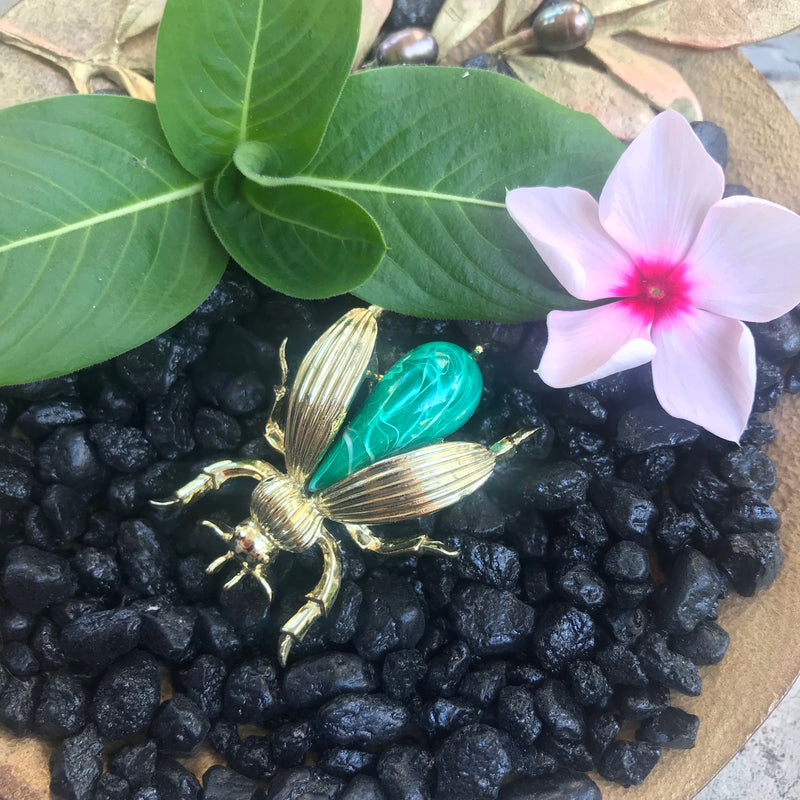 Vintage Gold and Green Bee Brooch