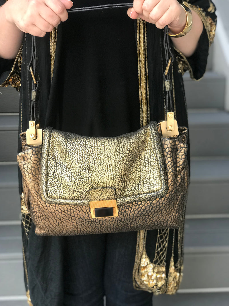 *DESIGNER* Lanvin Black + Gold Textured Handbag