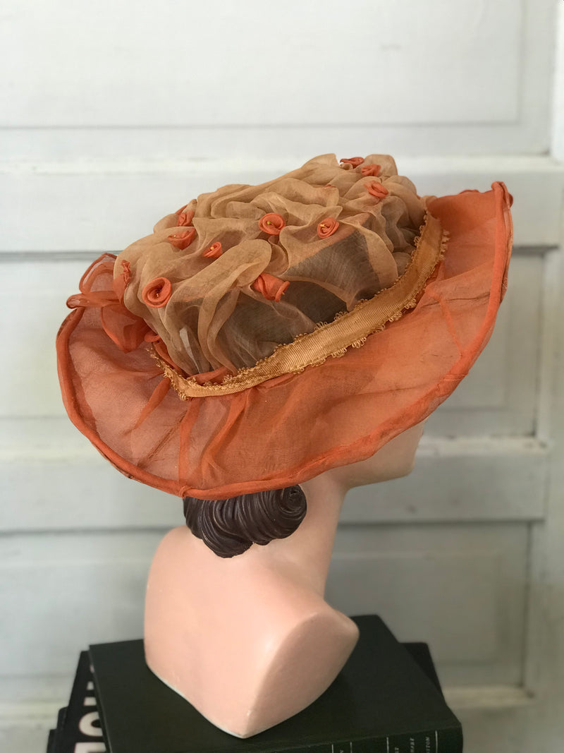 Edwardian Sherbet + Cream Silk Bell Flower Hat
