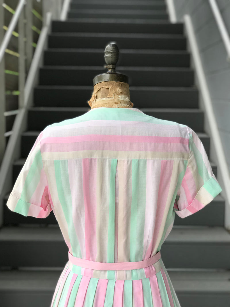 1950s Pastel Button Front Day Dress
