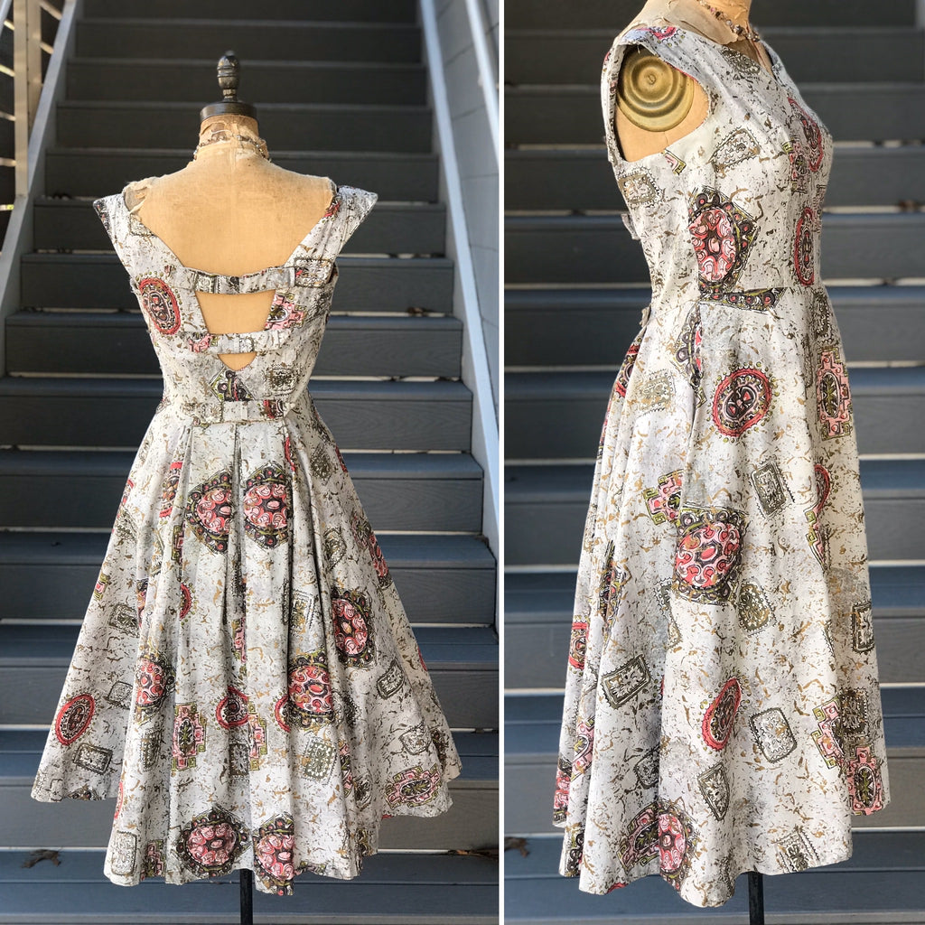 1950s Tile Stamped Gold Painted Day Dress