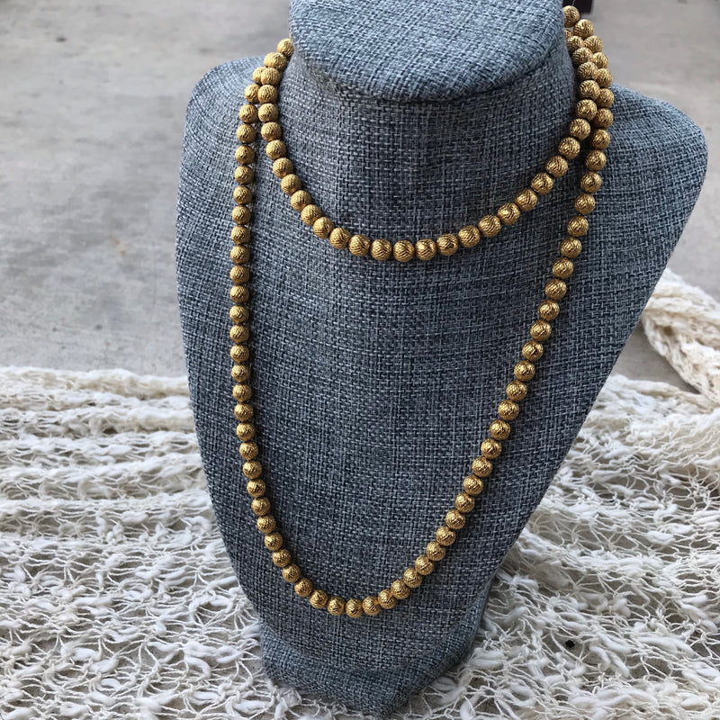 Trifari Gold Metal Bead Necklace