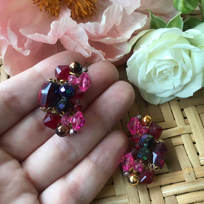 1960s Pink, Red, and Purple Beaded Clip On Earrings