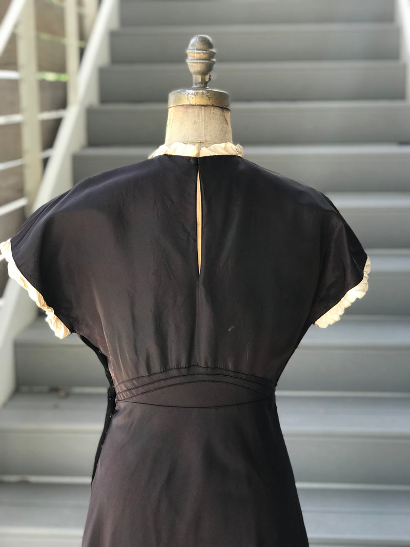 1930s *RARE* Black Nylon + Tafetta Black Gown