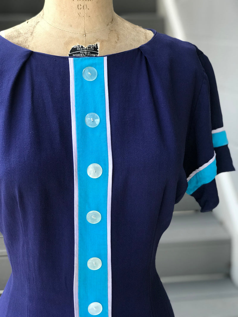 1960s Turquoise Stripe + Button Front Day Dress