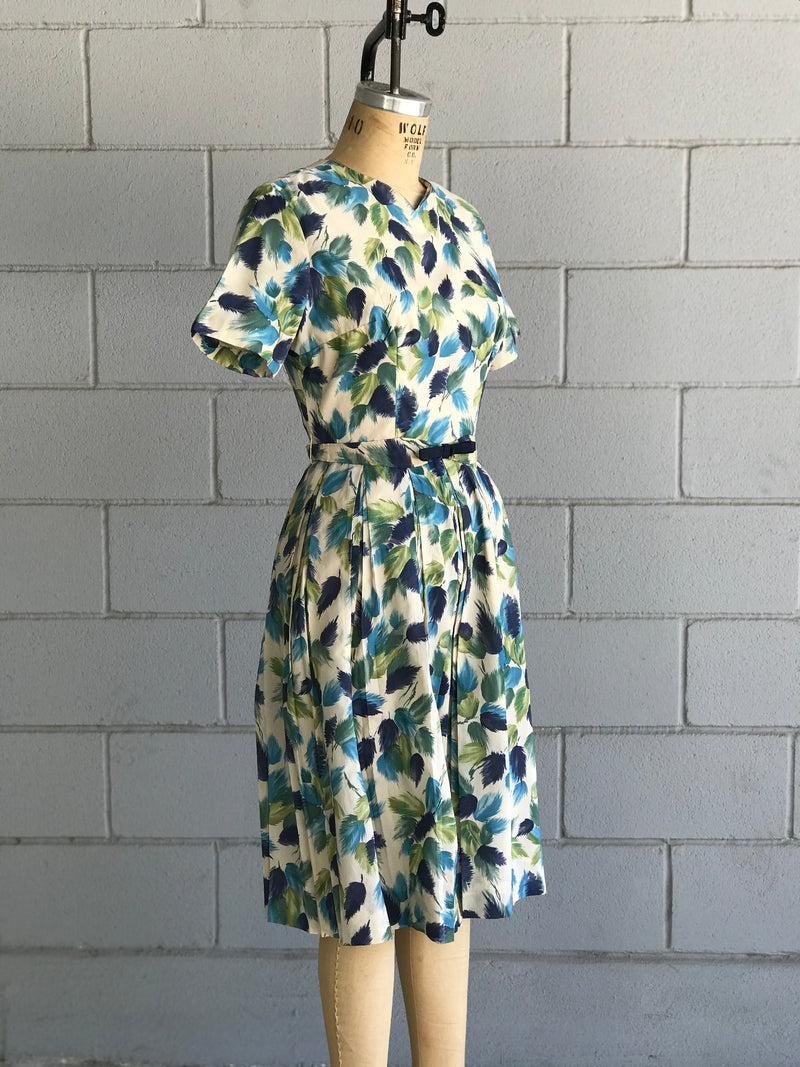1960s L'Aiglon Blue and Green Watercolor Leaf Dress