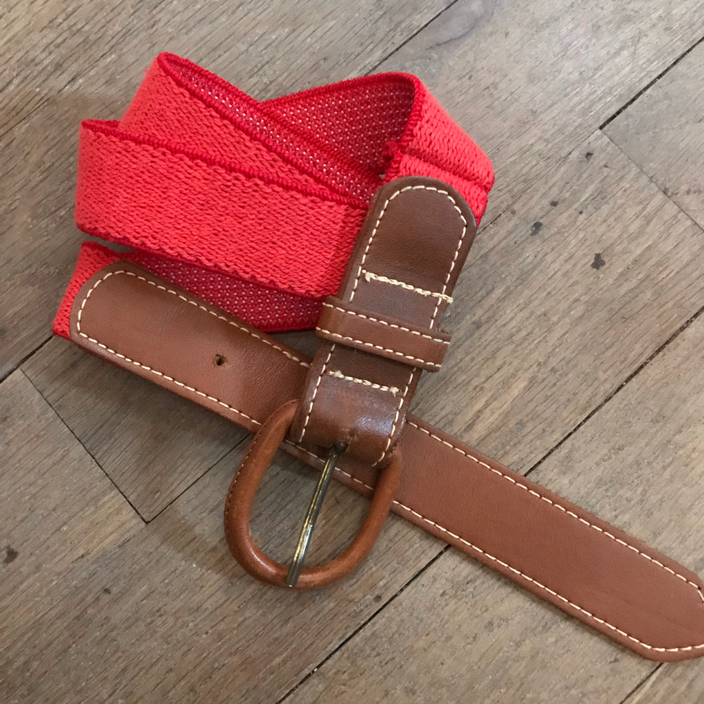 1970s Red Elastic Stretch Belt with Leather Buckle
