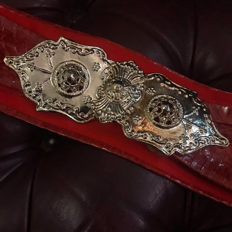 1980s Red Snakeskin Belt