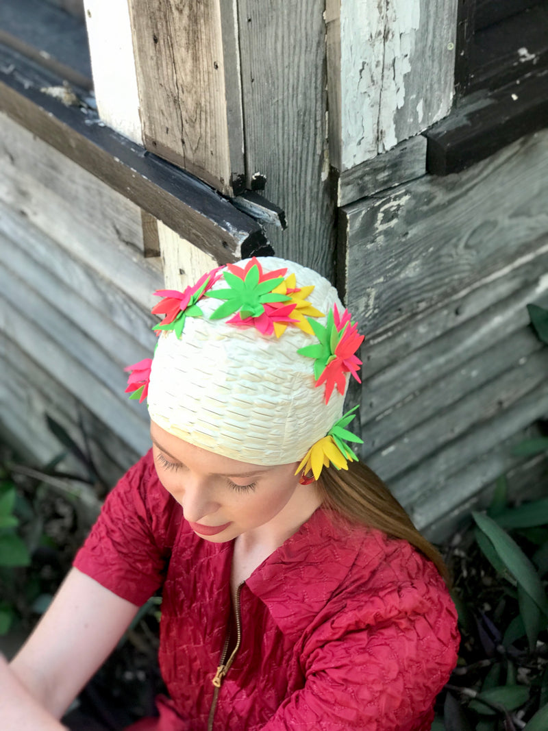 1950s Stretch Neon Floral Swimcap