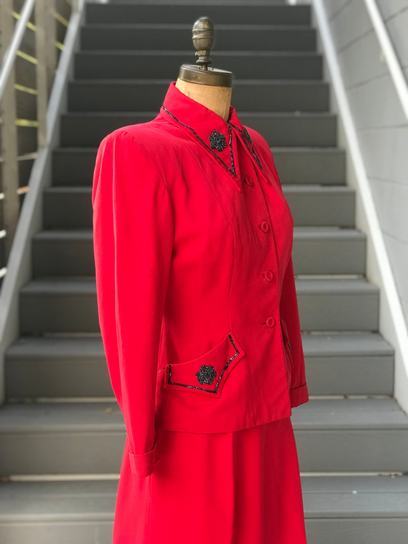 1950s Vivid Carmine Seedbead Suit *SET*