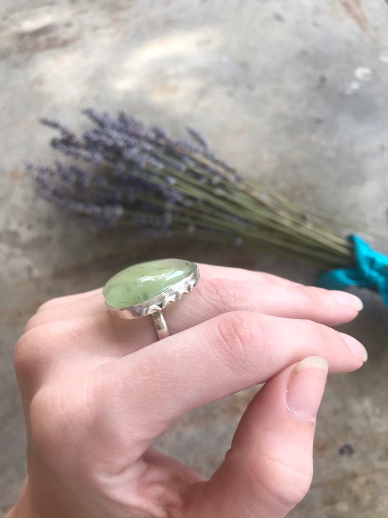 Sterling Silver + Prehnite Tear Drop Ring