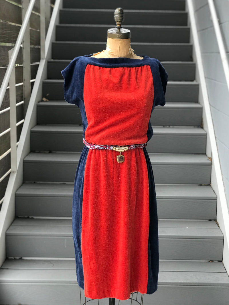 1970s Color-Block Terrycloth Day Dress